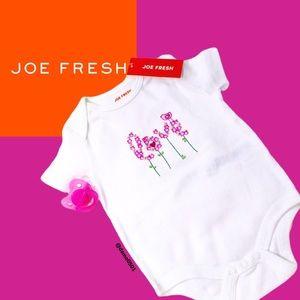 NWT Joe Fresh Baby Pink/Green Love Cotton Onesie